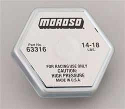 Radiator Cap, Hexagon, Moroso Logo
