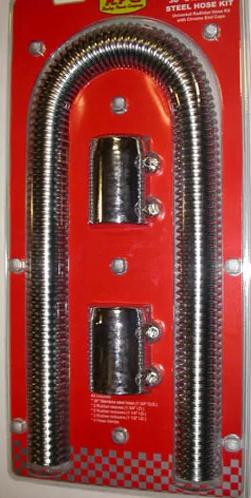 Polished Stainless Steel Flexible Radiator Hose Kit 36  Long 1-1/4  1-1/2  ... & Polished Stainless Steel Flexible Radiator Hose Kit 36