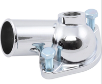 "Chrome Angled 1-1/2"" Water Outlet / Neck, Thermostat Housing w/ 1/2"" NPT Port, 1966-75 SBC"