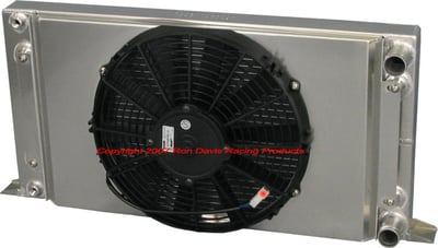 "Dual Pass Drag Racing Radiator, 25"" x 13"" x 2"", No Fill Neck, Door Car Style"