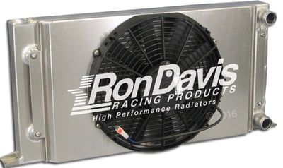 "Dual Pass Drag Racing Radiator, 25"" x 16"" x 2"", No Filler Neck, 1-1/4"" In / Out, Door Car Style"