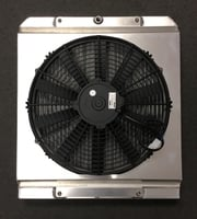 "Dual Pass Drag Racing Radiator, 20.5"" x 17.5"" x 2"", No Fill Neck, Bottom 3/4"" NPT In / Out, Lay Down Dragster Style"