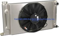 "Dual Pass Drag Racing Radiator, 25"" x 13"" x 2"", 1-1/4"" In / Out, Door Car Style"