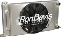 "Dual Pass Drag Racing Radiator, 25"" x 16"" x 2"", 1-1/4"" In / Out, Door Car Style"