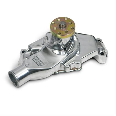 SBC Mechanical Water Pump, Short, Clockwise, Polished Aluminum