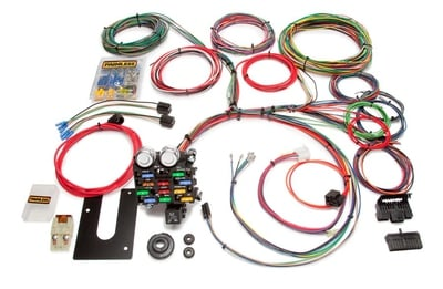 Universal Wiring Harness Kit, 21-Circuit, GM Keyed Column, Extra Long Harness, Front Fuse Block