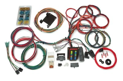 Weatherproof Wiring Harness Kit, 26-Circuit, Dash or GM Column Ignition, Extra Long Harness, Front Fuse Block