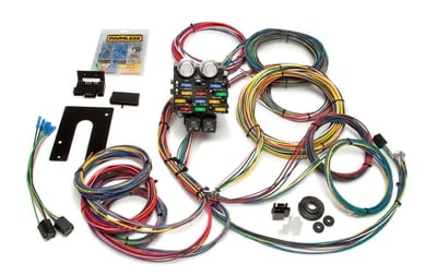 Pro Street Wiring Harness Kit, 21-Circuit, Dash or GM Column Ignition, Extra Long Harness, Front Fuse Block