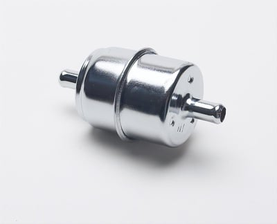 "Chromed Steel Fuel Filter, 3/8"" In / Out"
