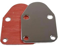 SBC 283-400 Fuel Pump Block-Off Plate with Gasket, Chrome Steel